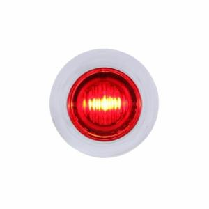 Bells-And-Whistles-Chrome-Shop-Trucks-Aftermarket-Accessories-Lighting-United Pacific-Dual Function Mini Clearance Marker Light with Bezel Red LED Clear Lens-Peterbilt-Kenworth-Freightliner-Mack-Volvo-Lonestar