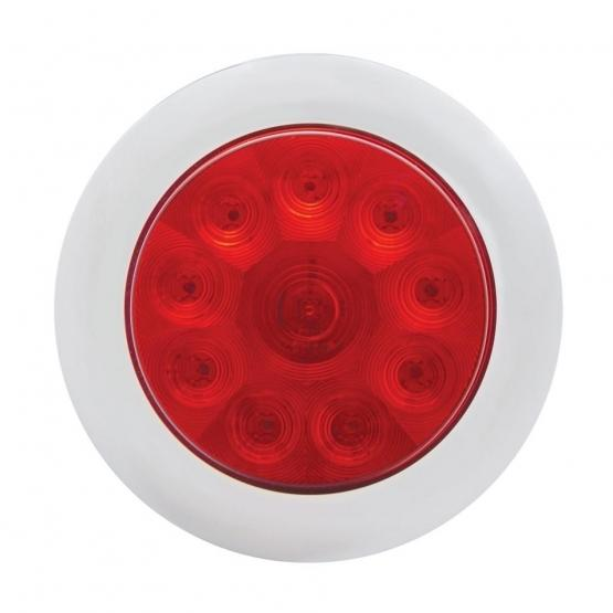 """United Pacific 10 LED 4"""" Stop, Turn, & Tail Light with Bezel- Red LED/Red Lens off"""