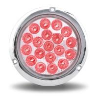 "Trux Acccessories- 4"" Red Stop, Turn & Tail to Blue Auxiliary LED Light with Flange Mount- Red"