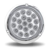 """Trux Acccessories- 4"""" Red Stop, Turn & Tail to Blue Auxiliary LED Light with Flange Mount- Off"""