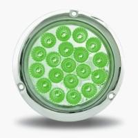 "Trux Accessories 4"" Red Stop, Turn & Tail to Green Auxiliary LED Light with Flange Mount - Green"