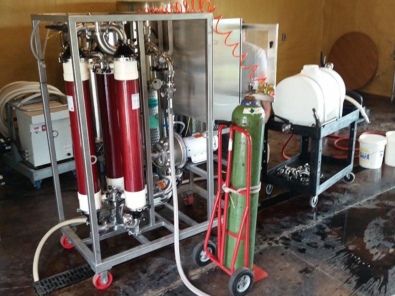 Cross flow filtering of Bells Up's 2015 wine.