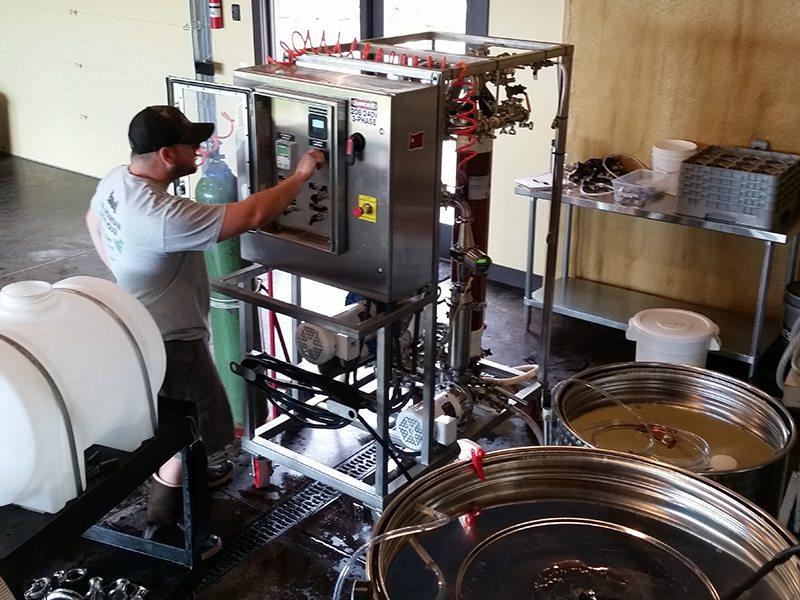 Cross flow filtering of Bells Up Winery's 2015 wines.