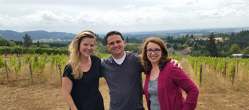 Amanda Barnes with Dave and Sara Specter at Bells Up Winery.
