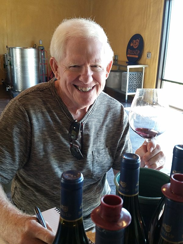 Rusty Gaffney—the Prince of Pinot—sampling Bells Up Winery wines.