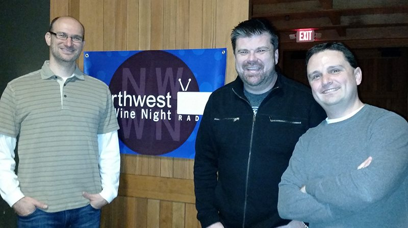 Northwest Wine Night Radio's Drew Mayer and Brian Calvert with winemaker Dave Specter of Bells Up Winery.