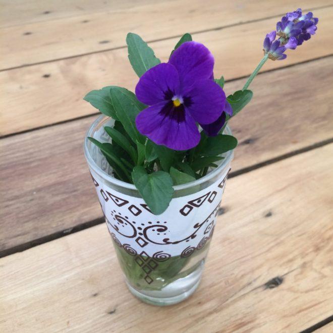 Viola and lavender flower in vase