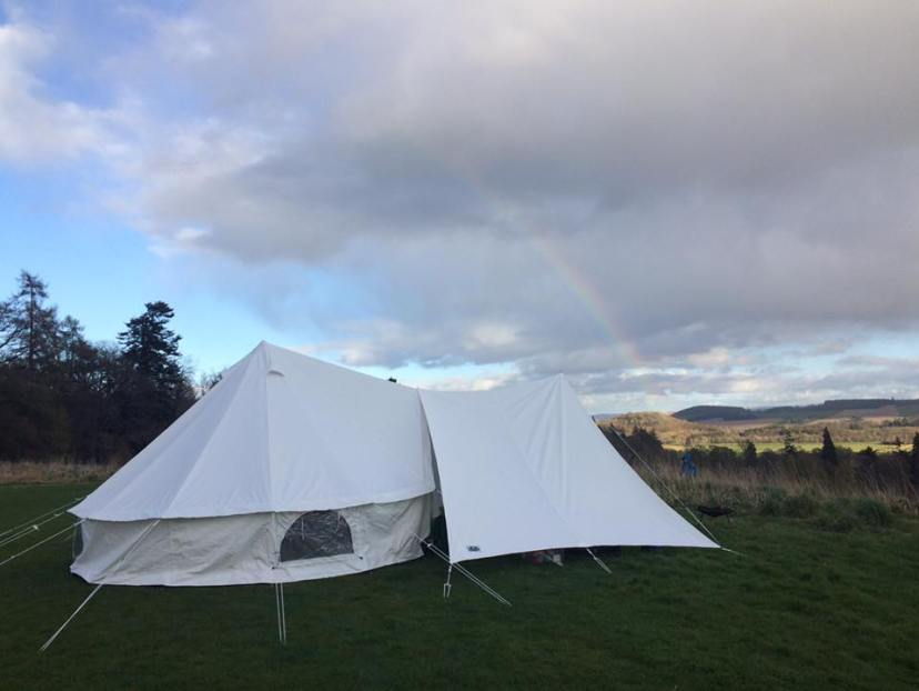 Bell Tent and porch at Comrie Croft