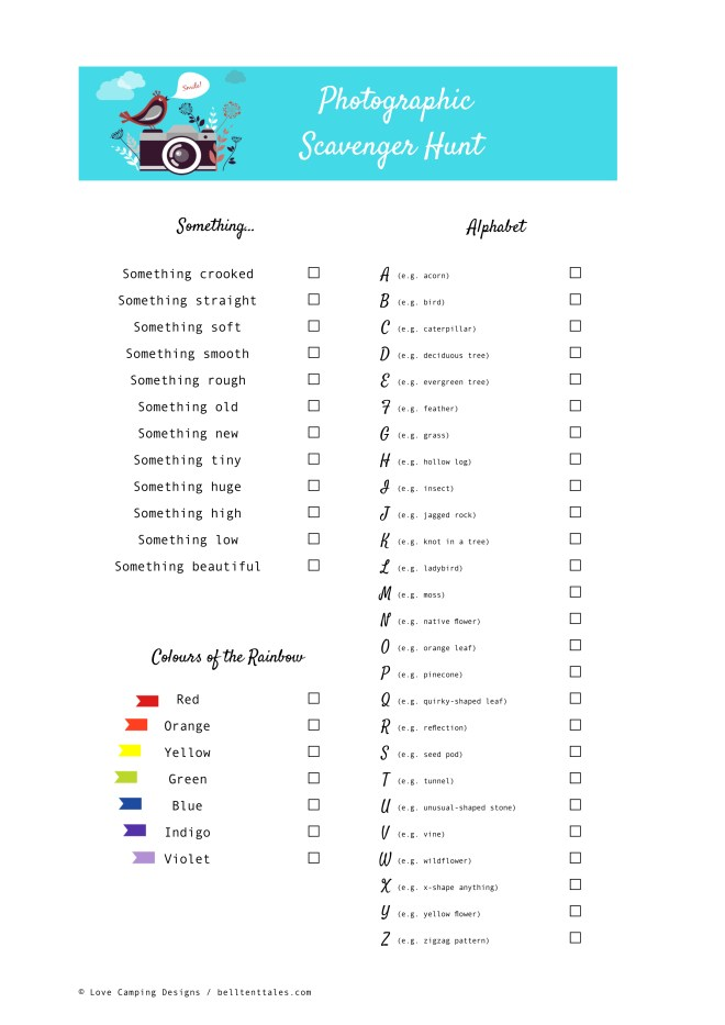 The Ultimate Photographic Scavenger List   A photographic scavenger hunt is a great outdoor activity for kids (and adults) of all ages. Have a nature scavenger hunt when camping, hiking, walking, or even at the local park. #campinggames #campingactivities #outdooractivities #naturescavengerhunt #photographyforkids   belltenttales.com