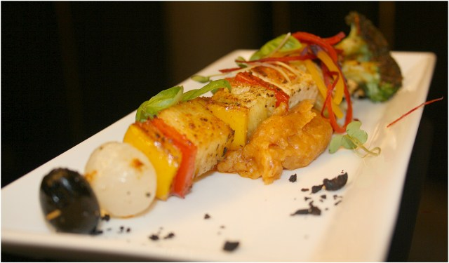 Vegetable Skewers with Chili Mash