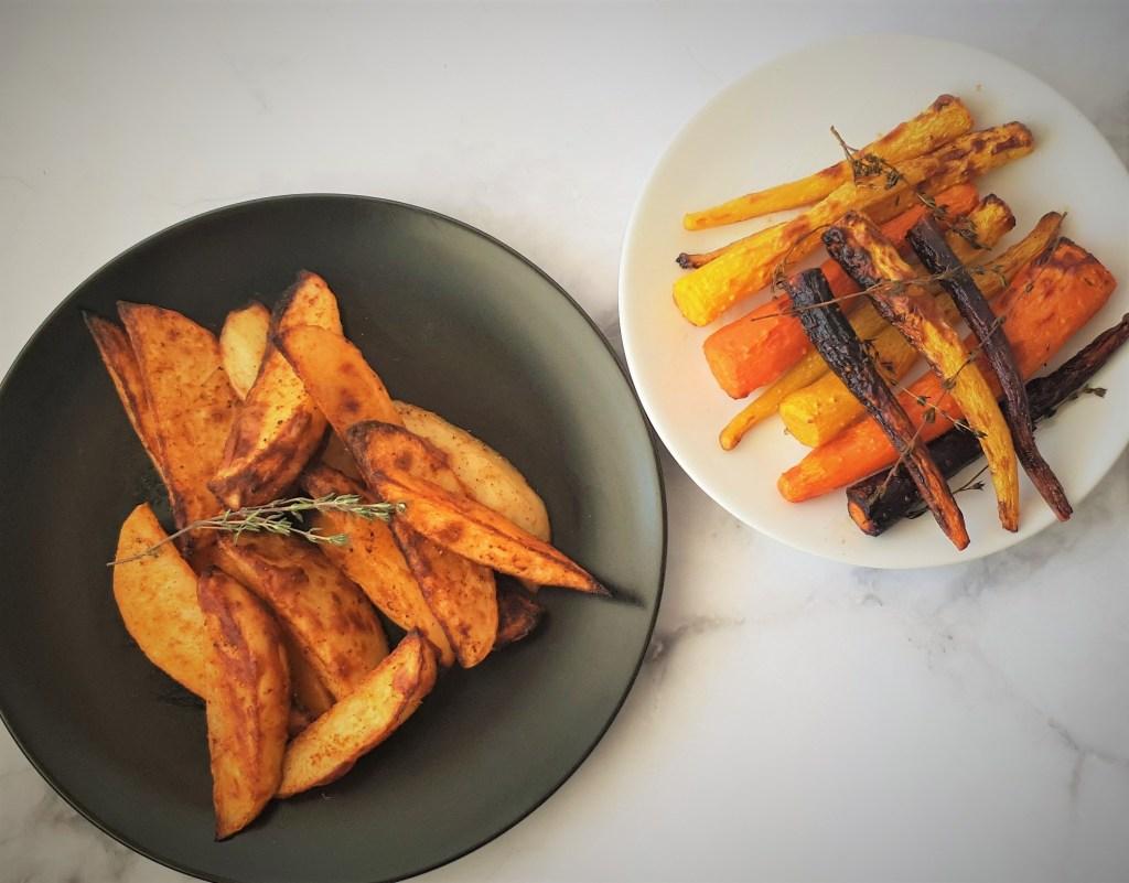 תפוחי אדמה וגזרים צבעוניים בתנור דל בפודמאפס Low FODMAP oven carrots