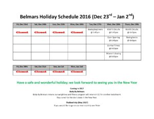 Belmars Holiday Schedule 2016