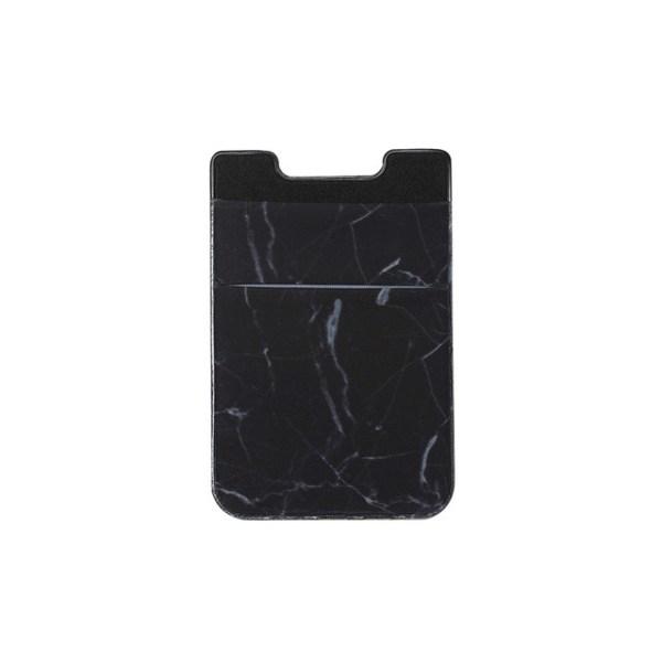 Marmeren patroon weg stretch telefoon terug plastic kaarthouder Sticky telefoon clip (zwart)