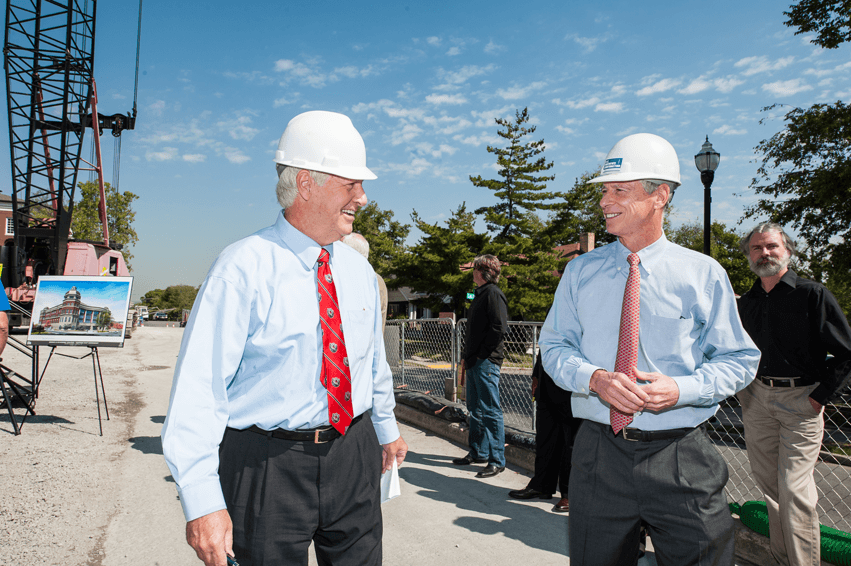 """Bob the Builder"" attends topping out of University's Dining and Academic Complex"