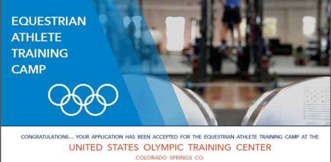 Acceptance to the US Olympic Equestrian Athlete Training Camp