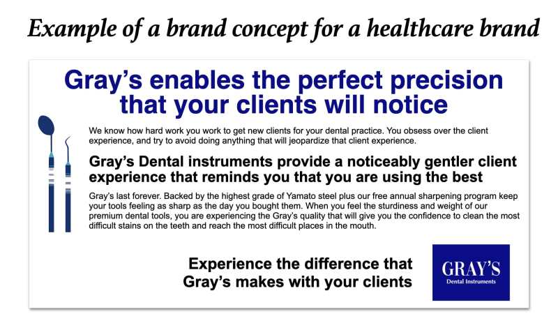 Brand concept example healthcare brands