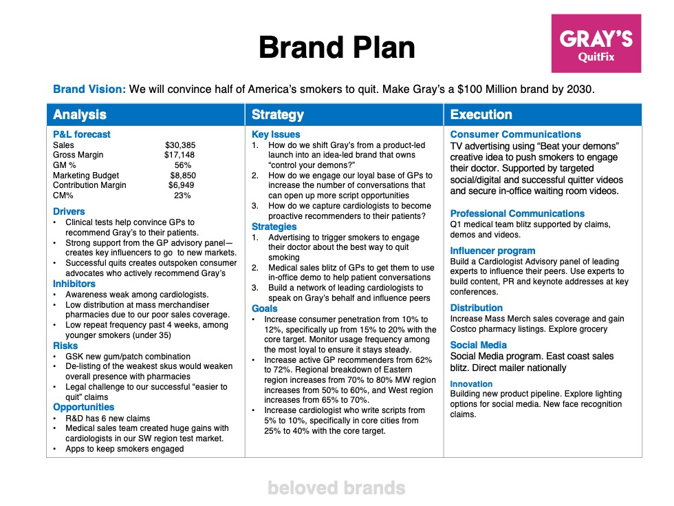 Healthcare Brand Plan example
