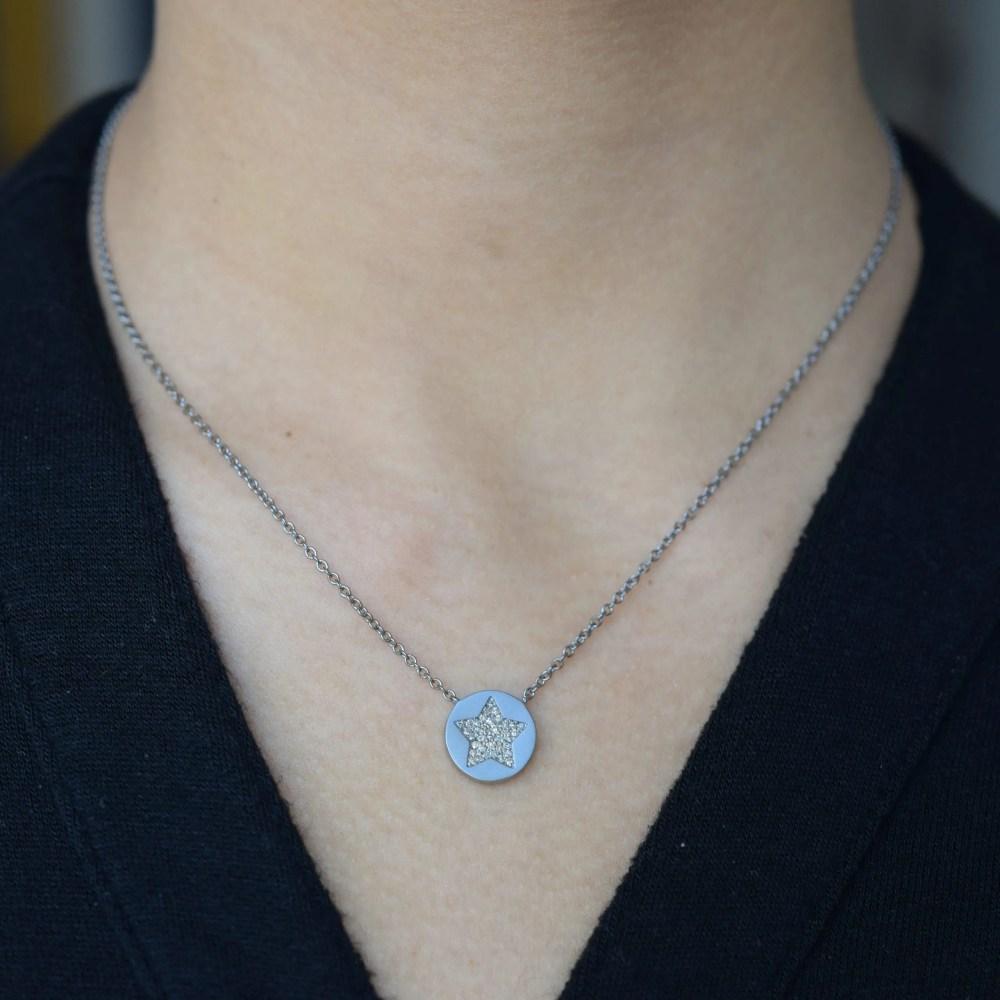 2-Sided Diamond Star Disc Necklace