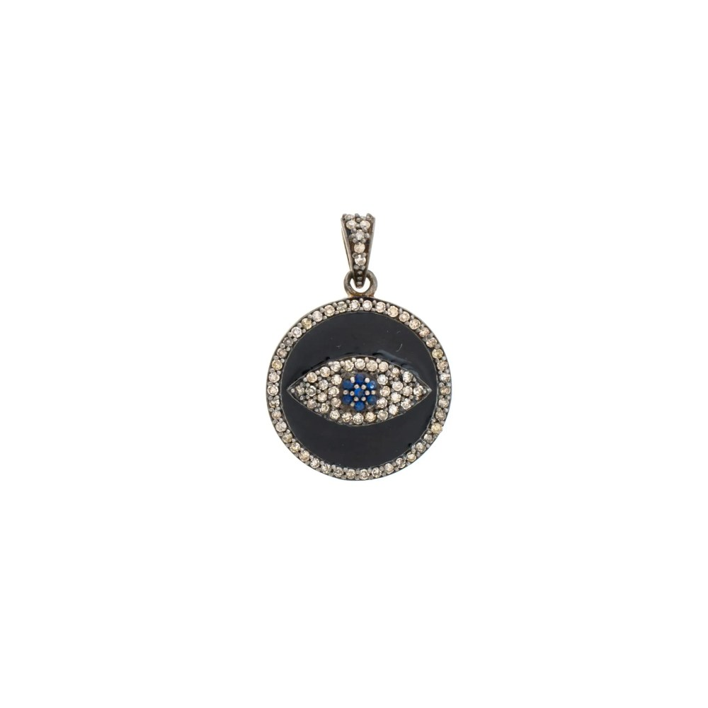 Diamond Black Enamel Evil Eye Charm Sterling Silver