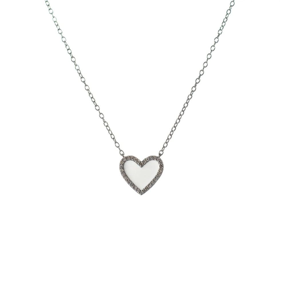 Diamond Mini White Enamel Heart Necklace Sterling Silver