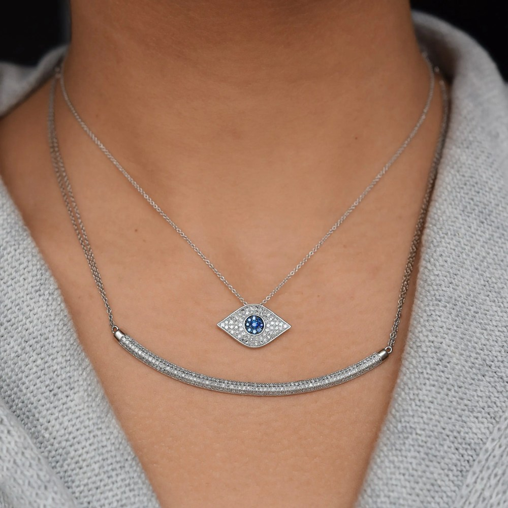 Diamond + Sapphire Evil Eye Necklace