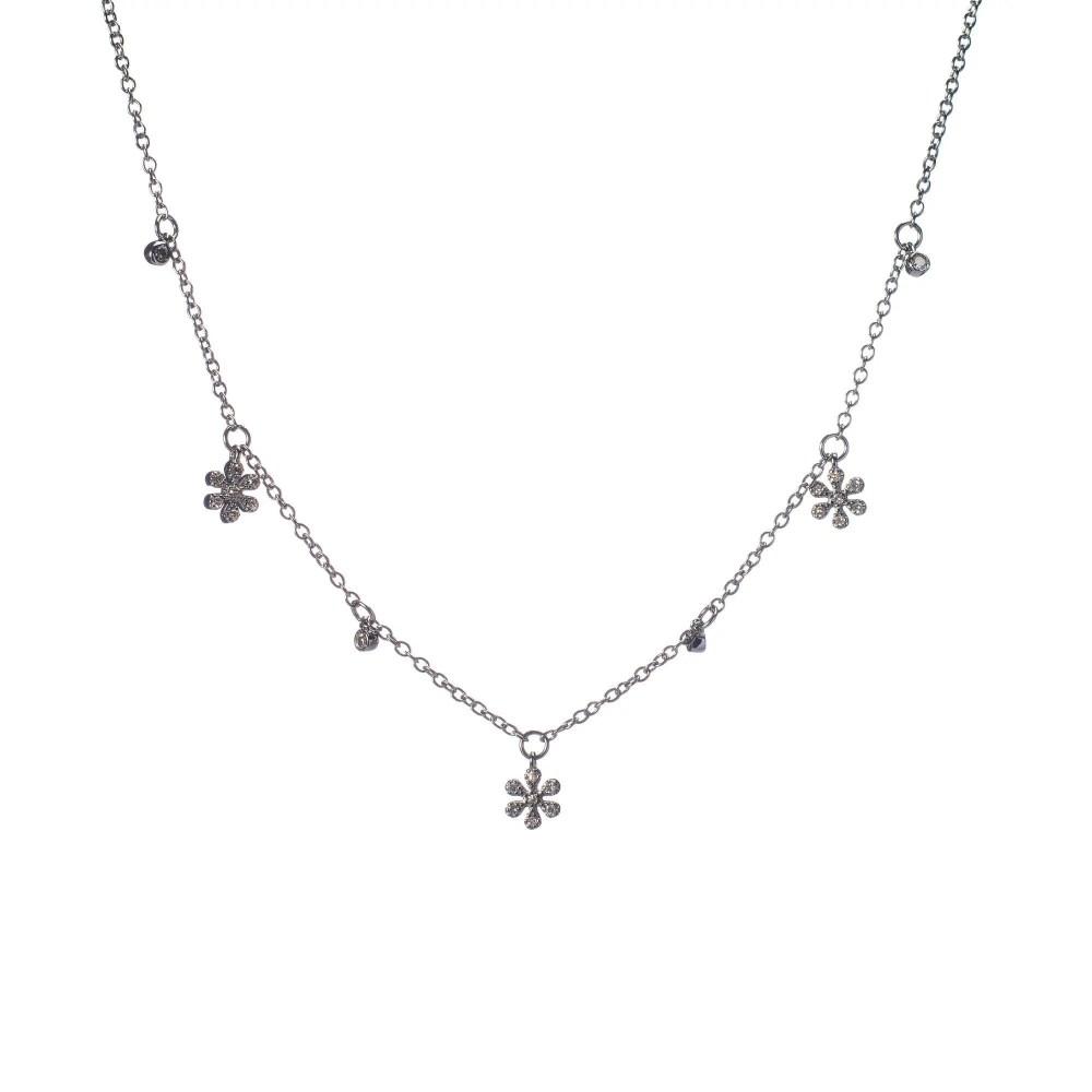 Diamond Dangling Flower Charm Necklace