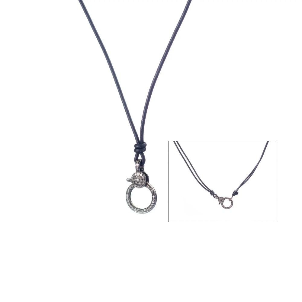 Medium Diamond Clasp Leather Necklace