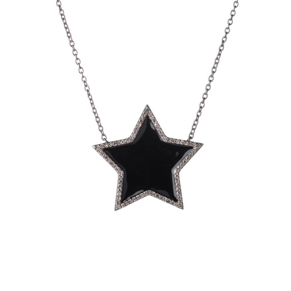 Diamond Super Star Black Enamel Necklace