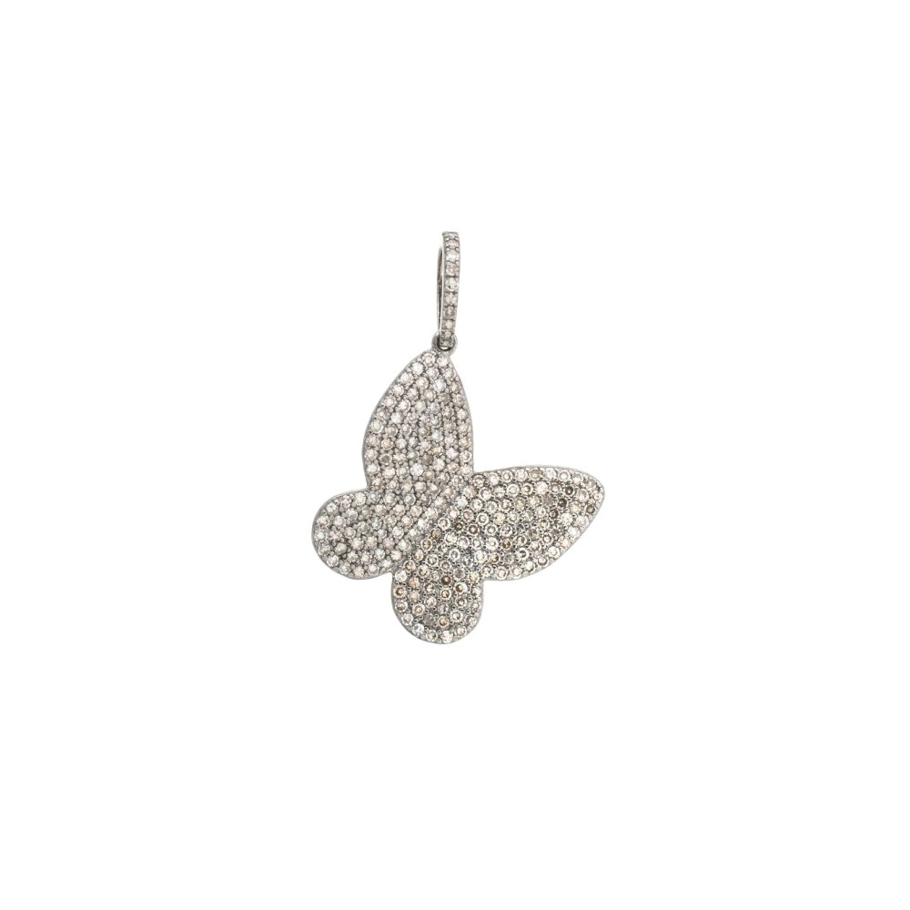 Large Diamond Butterfly Charm Sterling Silver