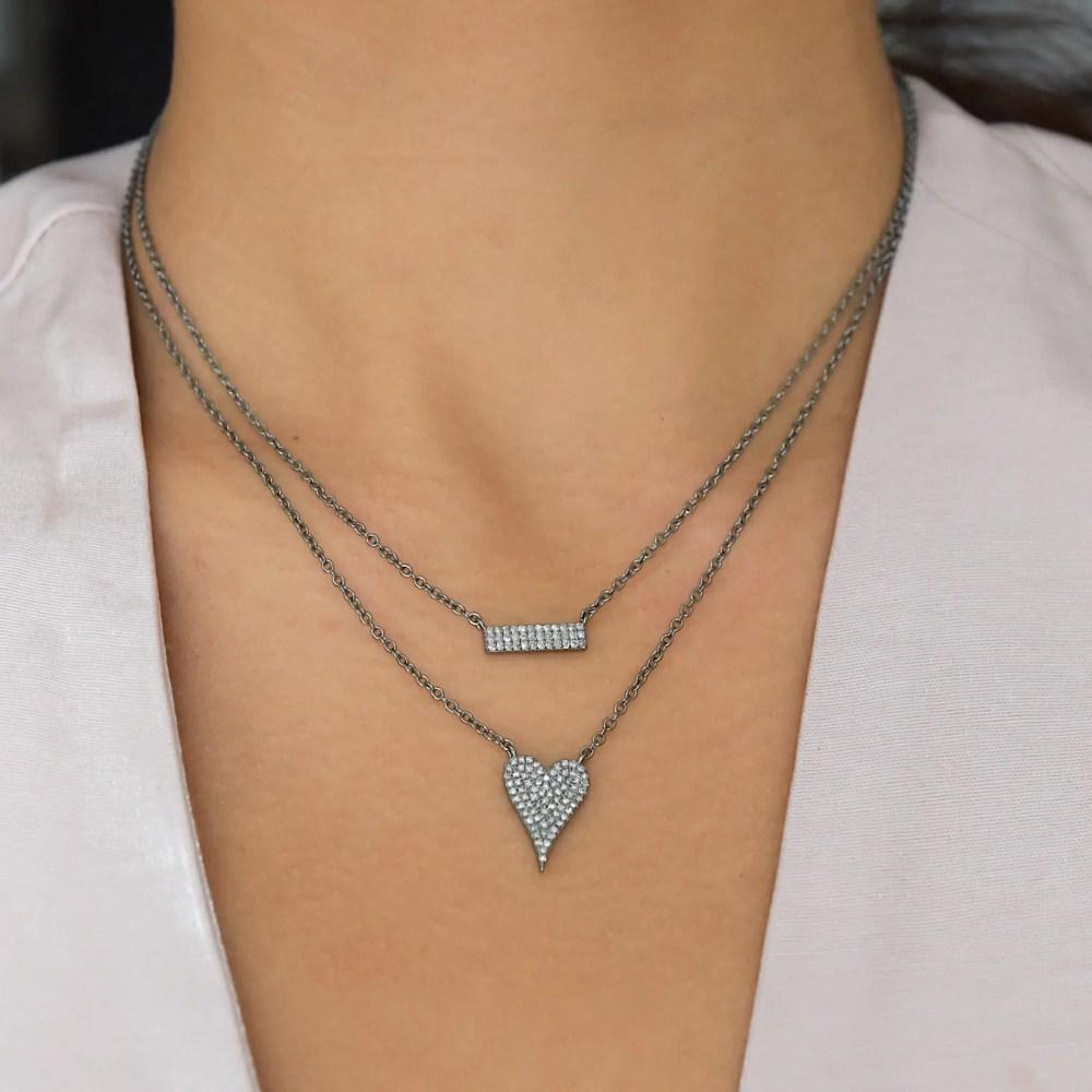 Modern Diamond Mini Heart Necklace