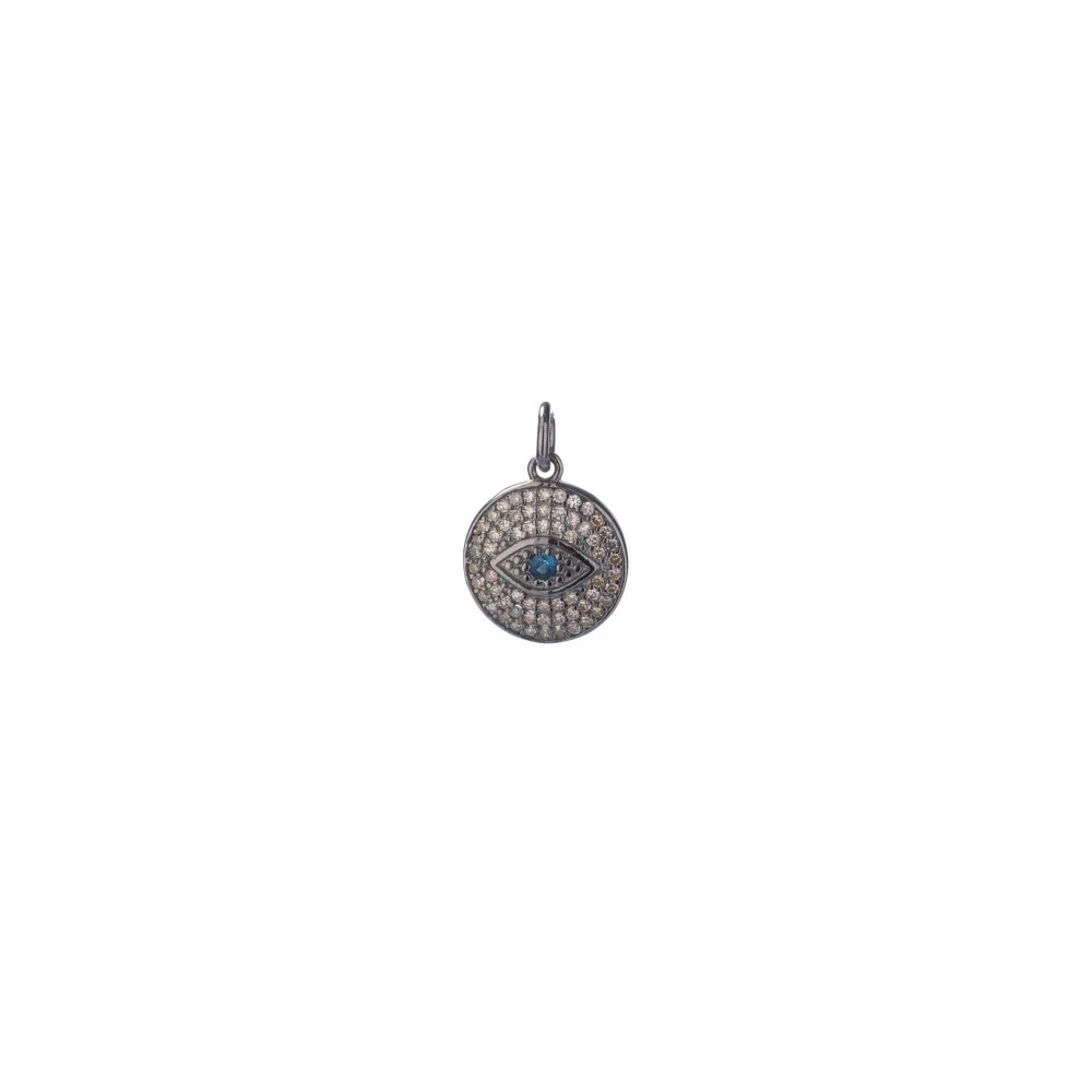 Small Diamond Evil Eye Charm with Sapphire Eye Silver