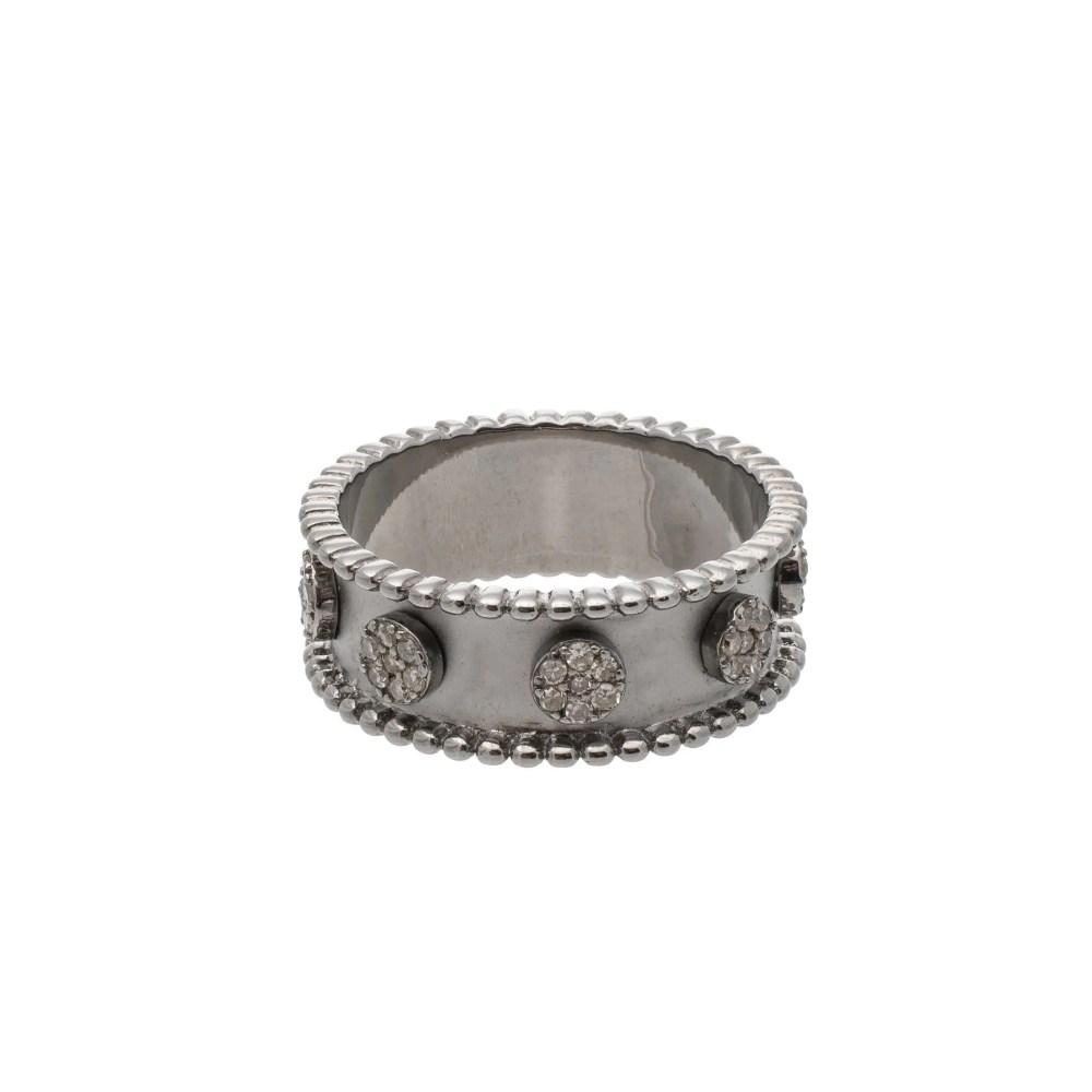 Diamond Circle Beaded Eternity Band Silver