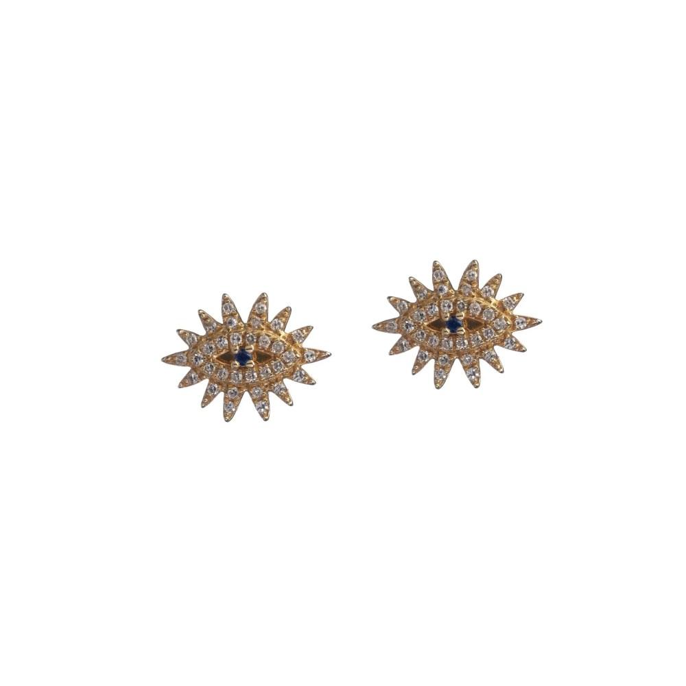 Diamond Eyelash Studs with Sapphire Yellow Gold