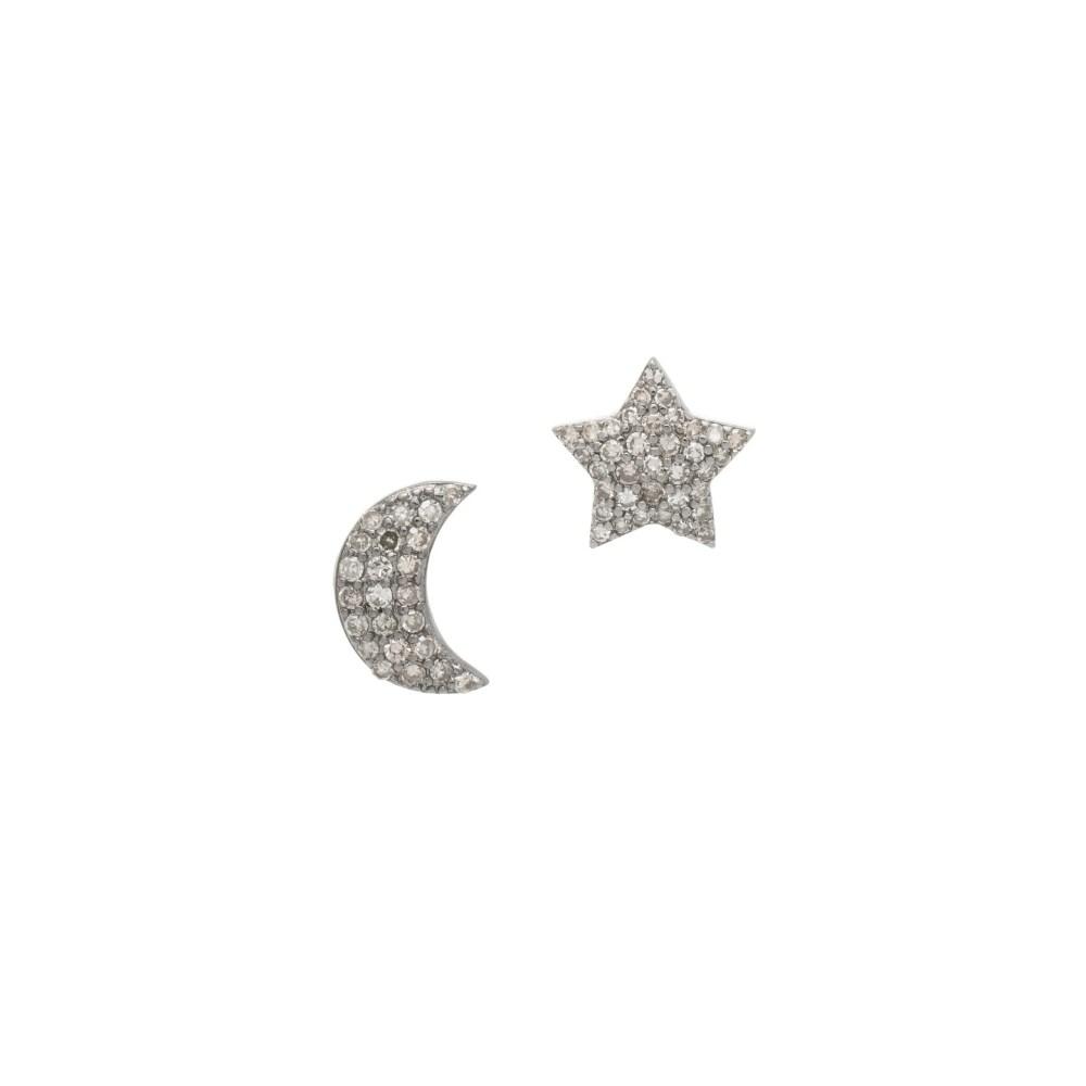 Diamond Moon + Star Studs Sterling Silver