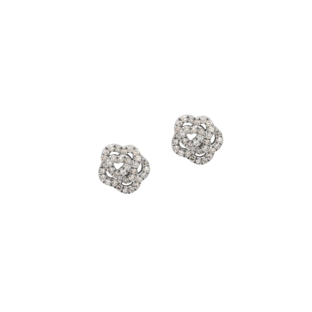 Diamond Rose Studs Sterling Silver