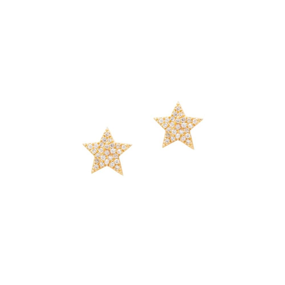 Diamond Star Studs Yellow Gold