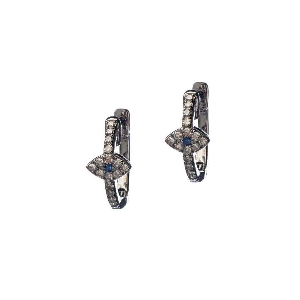 Diamond Evil Eye Huggie Earrings with Sapphires
