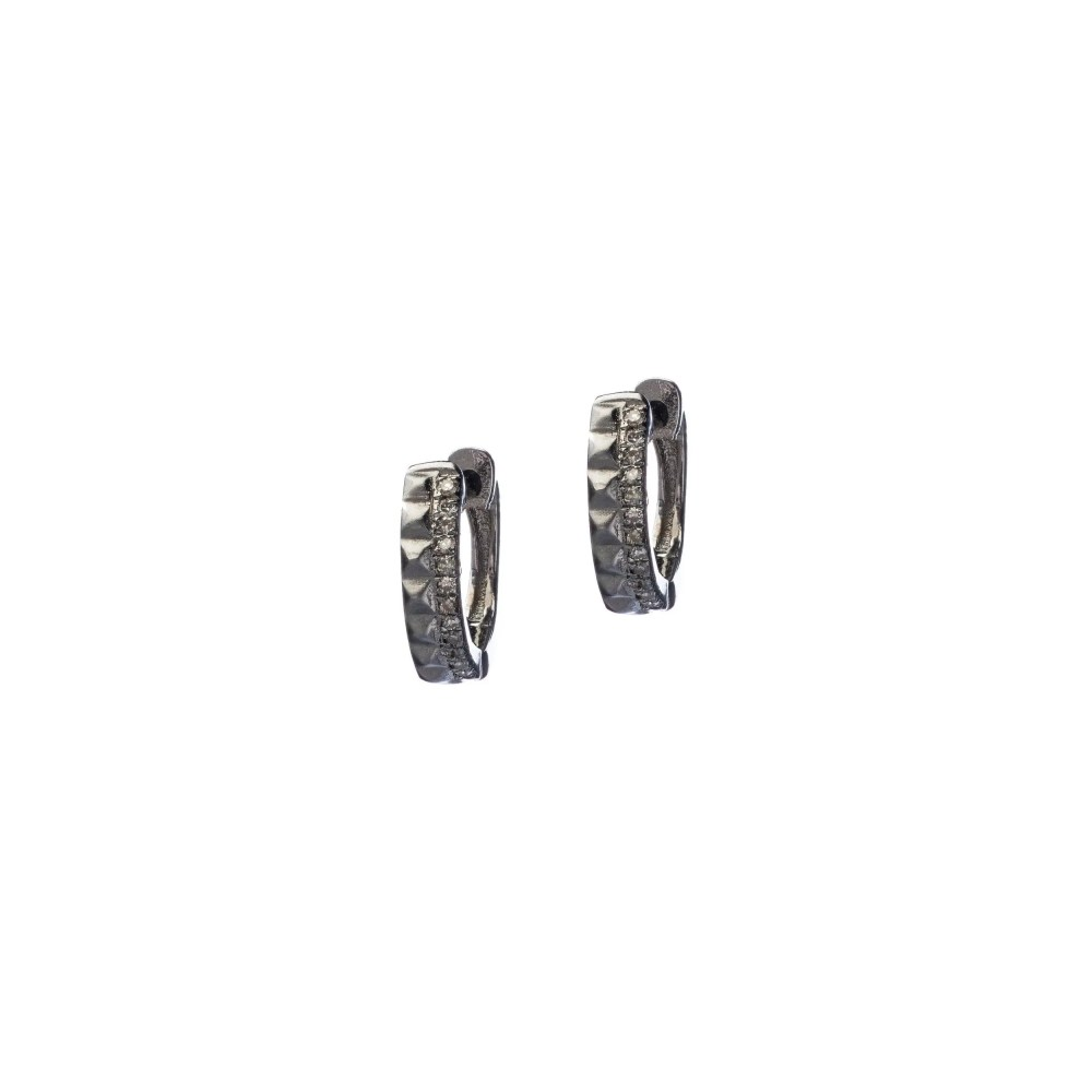 Studded Huggie Earrings with Diamonds Sterling Silver