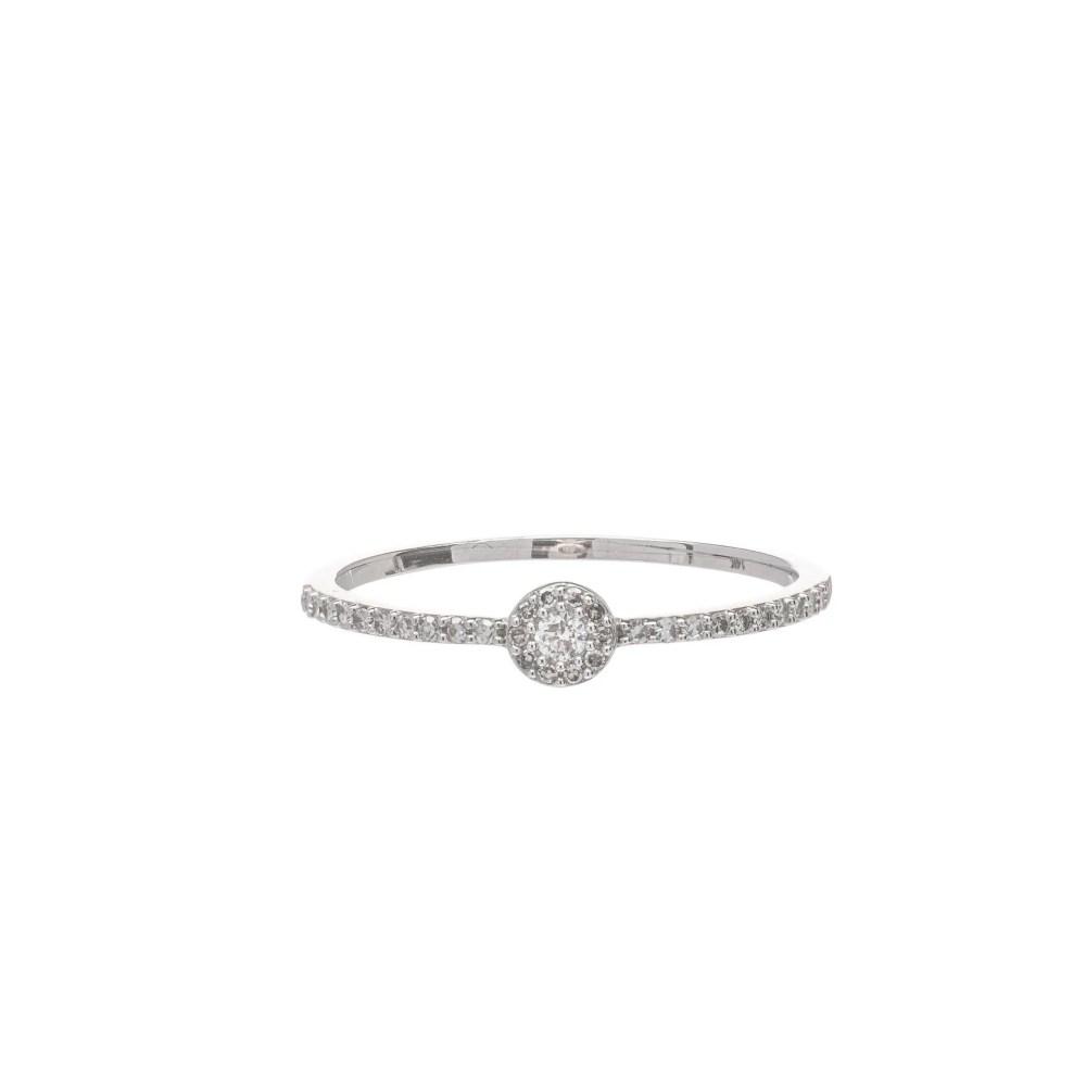 Diamond Circle Halo Ring White Gold