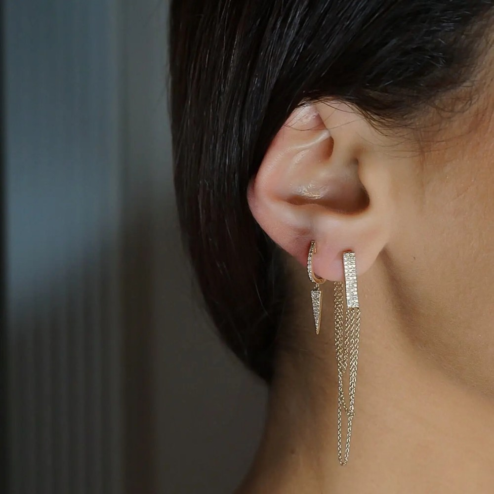 Diamond Dangling Dagger Earrings