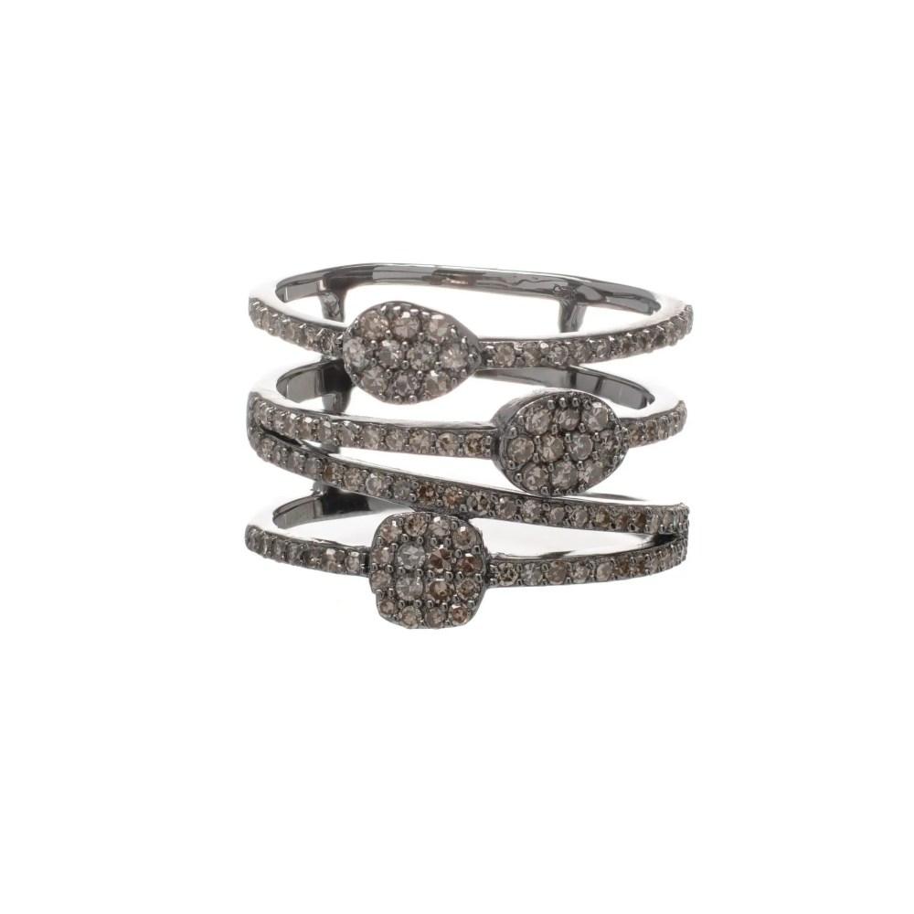Diamond Multi-Row Geometric Stacking Ring Sterling Silver