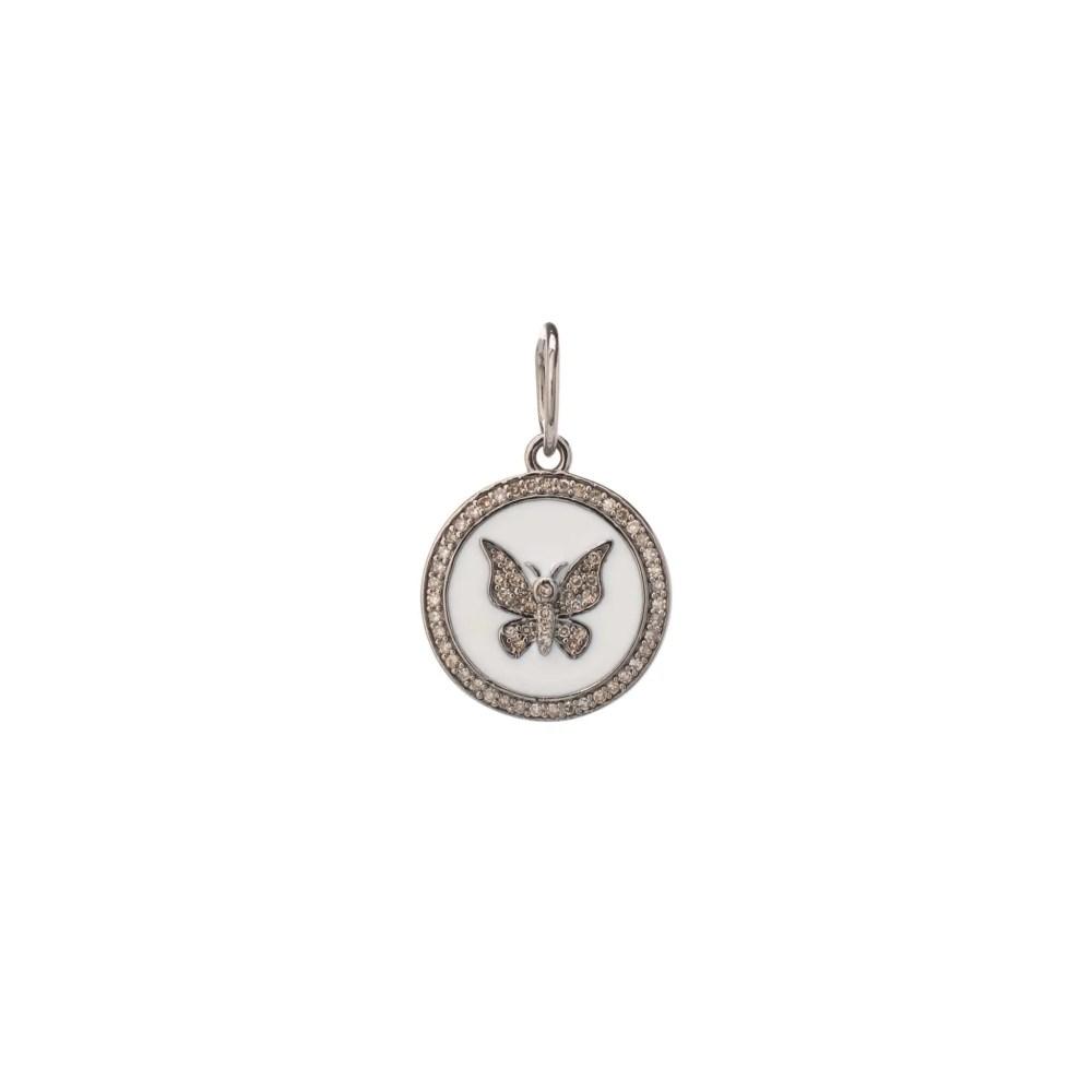 Mini Diamond + White Enamel Butterfly Disc Charm