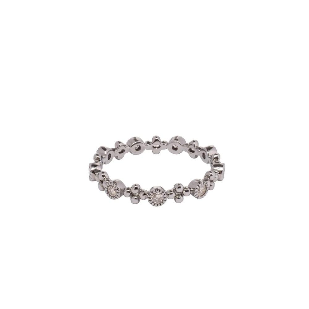 Diamond Bezel + Beaded Stacking Ring Sterling Silver