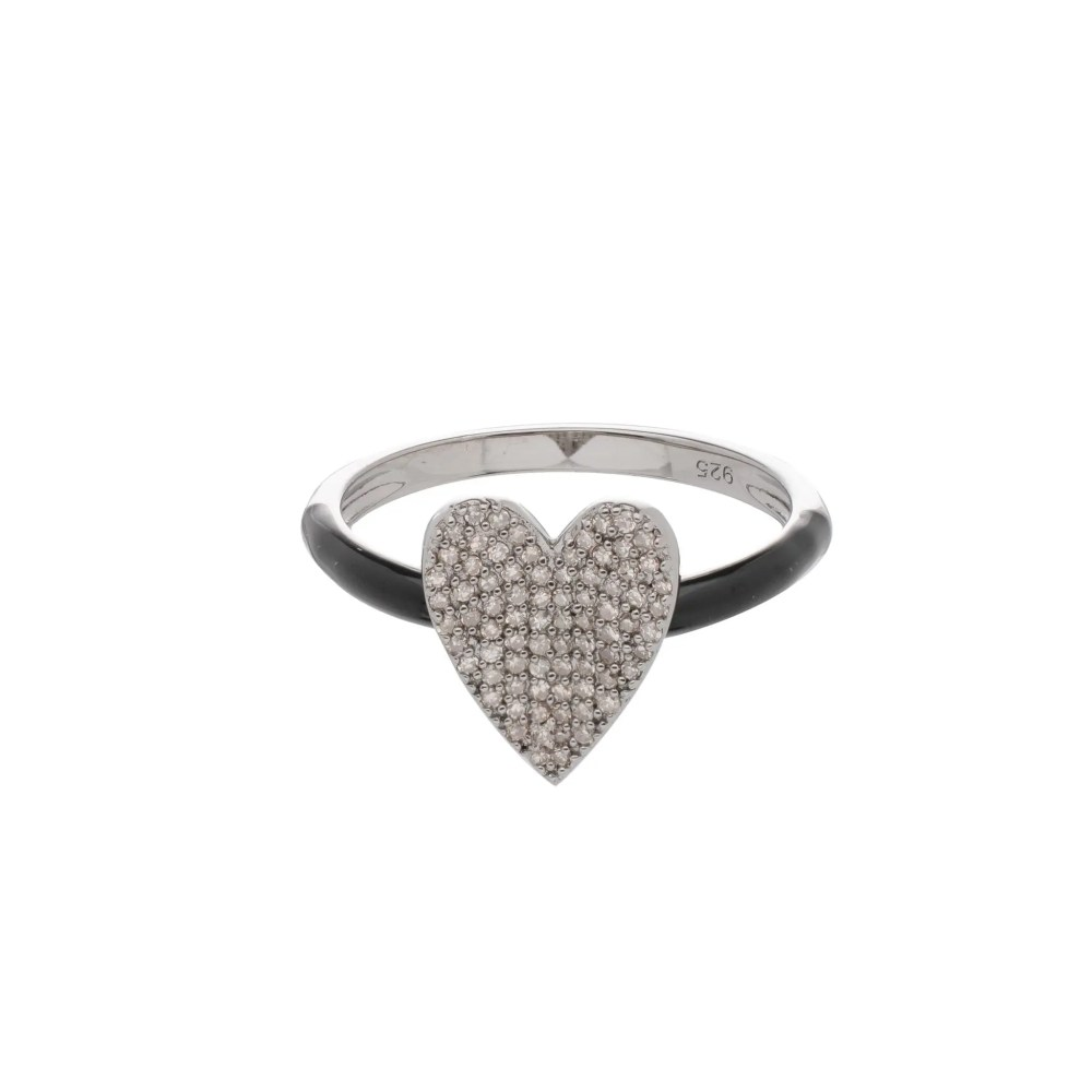 Pave Diamond Heart Ring with Black Enamel Band Sterling Silver