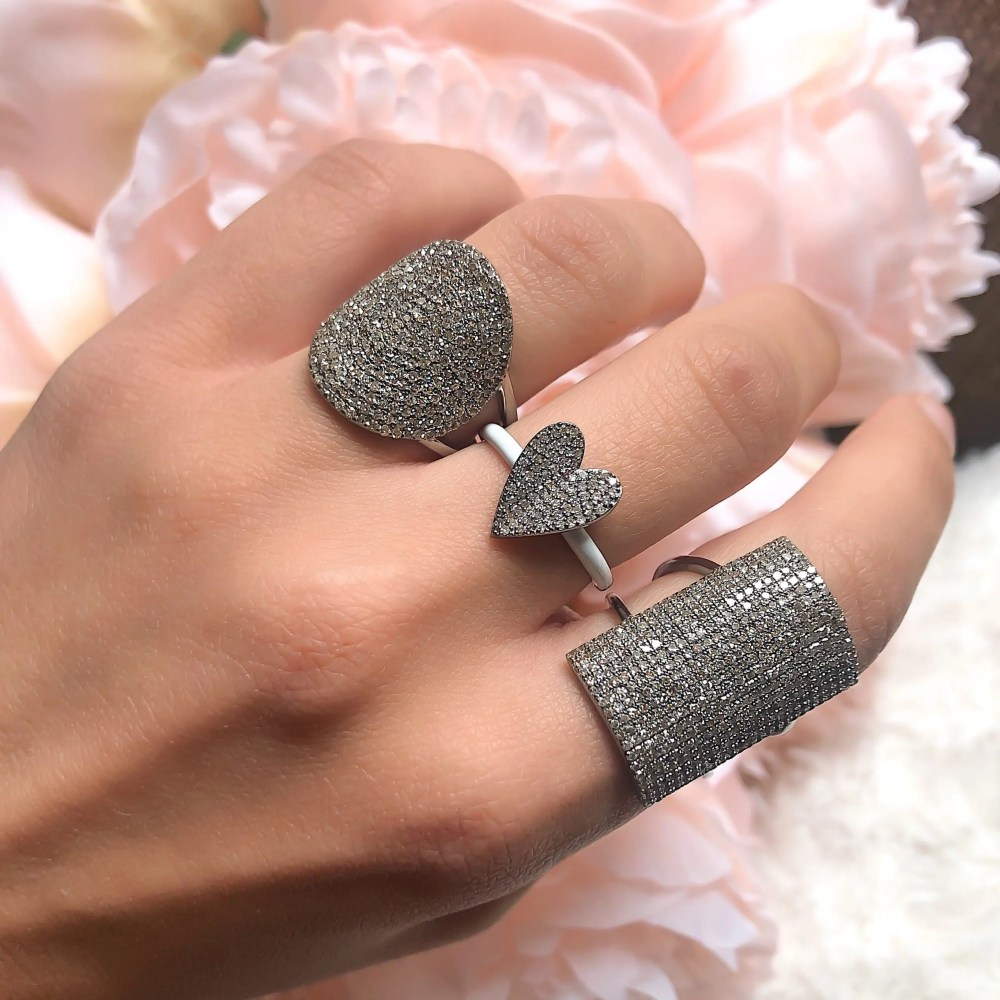 Pave Diamond Heart Ring with White Enamel Band