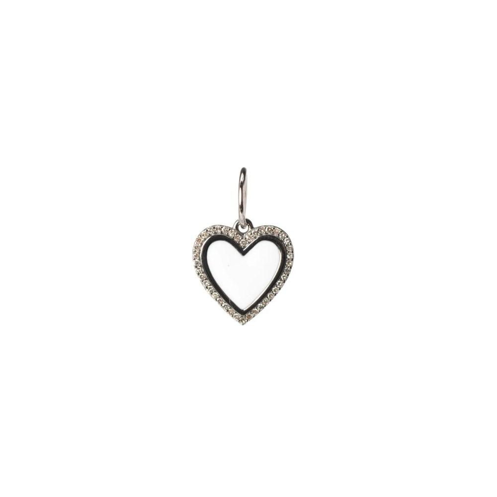 Mini Diamond + White Enamel Heart Charm