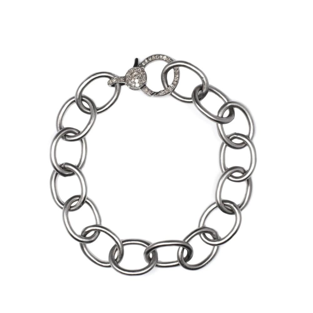 Chain Link Diamond Clasp Bracelet Sterling Silver