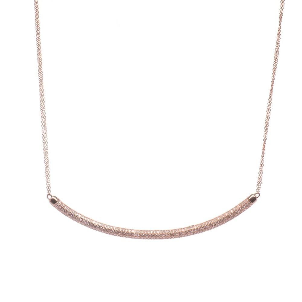 Diamond Rounded Bar Necklace 14k Rose Gold