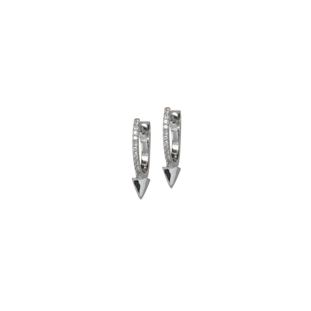 Micro Diamond Dagger Huggie 14k White Gold