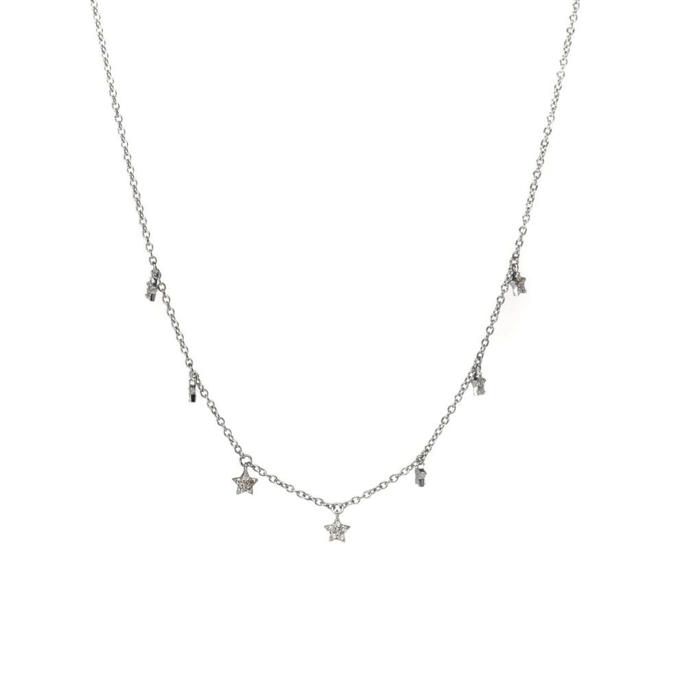 Mini Diamond Dangling Star Necklace Sterling Silver